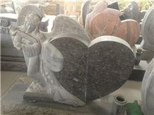 Black Pearl Granite Gravestone,Angel Heart Shape Monument