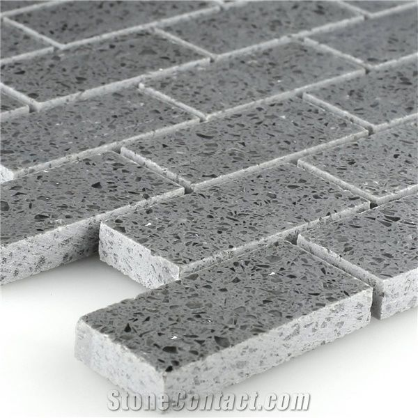 Resin Quartz Mosaic Stone Tile Grey