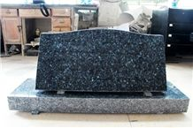 Blue Pearl Granite Polished Cemetery Slant Marker Tombstone