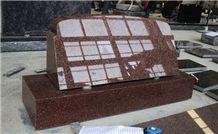 Indian Red Granite Polished Slant Marker Tombstone