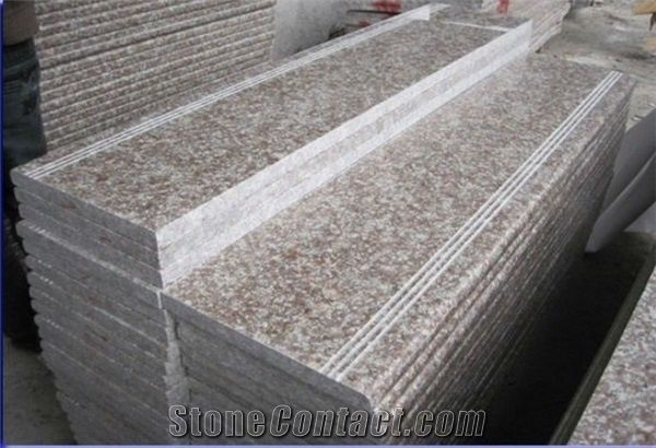 G687 Granite Stairs Steps Peach Red Granite Stair Risers