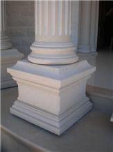 Galil Stone Carved Column, Jerusalem Ivory Beige Limestone Column