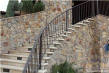 Lima Branco Limestone Stairs, Honed Steps