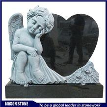 Black Granite Headstone,Angel Monuments,Angel with Heart Tombstones