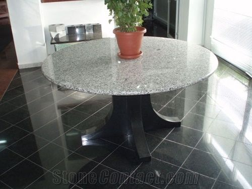 Chima White Granite Round Table Top From Seychelles