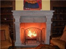 Gray Huichapan Cantera Carved Fireplace Mantel
