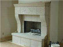 Fond Du Lac Cut Stone Fireplace Mantel, Fireplace Hearth