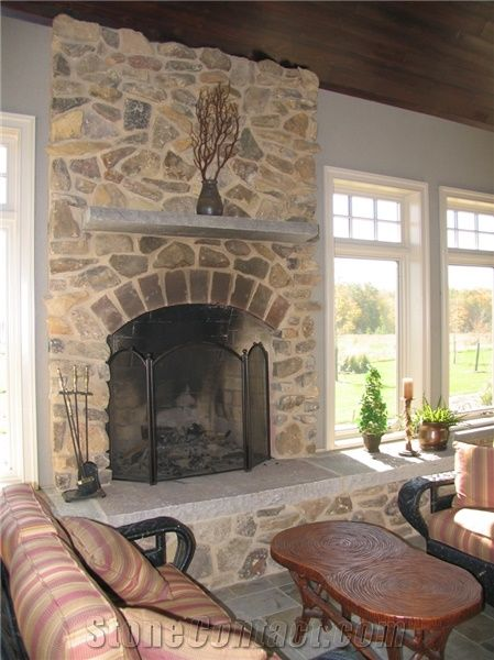 Frontier Gray Limestone Fireplace Hearth And Mantle From