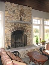 Frontier Gray Limestone Fireplace Hearth and Mantle