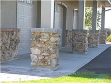 Frontier Gray Limestone Pillar Pier Cap with Ozark Fieldstone