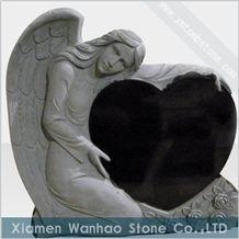 Chinese Black Granite Tombstone, Angel Heart Monument Gravestones