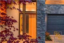 Black Pearl Slate Ledgestone Wall Thin Veneer, Ocean Pearl Stone Grey Slate Cultured Stone