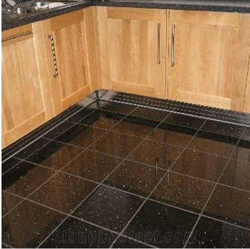 Black Galaxy Granite Floor Tiles Black Polished Granite