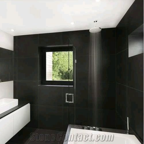 Black Granite Polished Bathroom Walling Flooring Jet