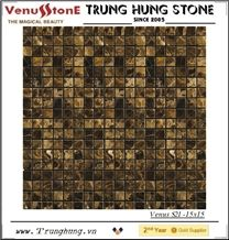 15*15 Dark Emperador Polished Marble Mosaic Tiles