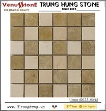 48*48 Light Emperador Mixed Polished Marble Mosaic Tiles