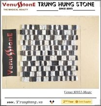 Black and Grey Mixed Color Marble Mosaic with Magic Design