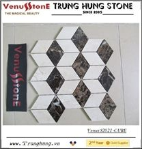 Crema Marfil+Dark Emperador Marble Multicolor Cube 3d Marble Mosaic for Modern Decoration
