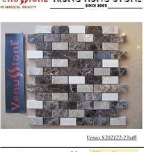 Crema Marfil + Dark + Light Emperador Marble 23*48 Multicolor Polished Marble Mosaic Tiles