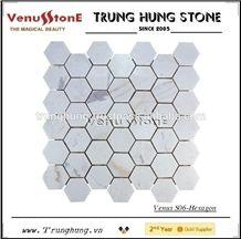 Vietnam Milky White Hexagon Marble Mosaic Tile Polished