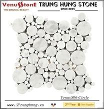 Vietnam Milky White Round Marble Mosaic Tiles
