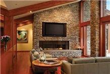 Moose Mountain Stacked Stone Thin Veneer Fireplace Surround