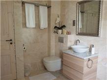 Vanilla Rustica Travertine Sanded Bathroom Wall and Floor Application
