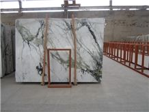 China Arabescato Clivia Marble Slabs Polished,Machine Cutting Tiles White Marble Tile with Green Veins