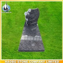 Granite Mass Blue Tombstone with Sunflower Engraving, Bahama Blue Granite Monument & Tombstone
