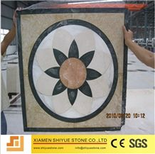 White Marble Iberica Water-Jet Waterjet Decorative Patterns Round Medallions, Thin Laminated, Inlayed Floor Project, Light Emperador ,Crema Marfil ,Dark Emperador Brown, Entryways, Foyers Lobbies