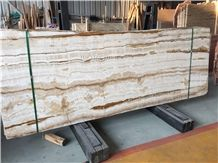 Iran White Straight Line Wood Grain Traonyx Marble Slabs & Tiles