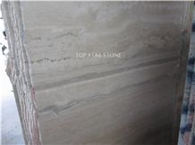 Italian Light Silver Grey Travertine Tiles & Slab, Ocean Blue Grey Travertine