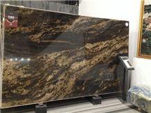 High Quality Black Fusion Granite Slab, Brazil Black Granite