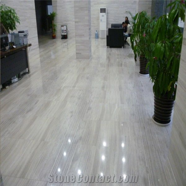White Wood Vein Marble Floor Tiles From China