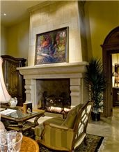 Beige Limestone Fireplaces