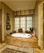 Golden Yellow Onyx Bath Tub Surround
