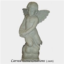 Kneeling Angel with Flowers Statue, Honed Bianco Puro Marble