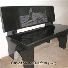 Park Bench with Polished Back Granite, Absolute Black Granite