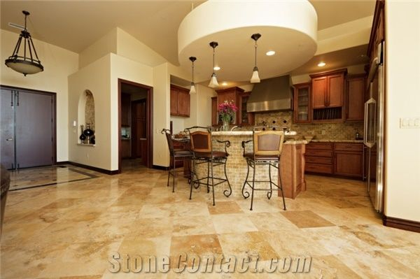 Antique Gold Light Travertine Honed And Filled Floor Tile From