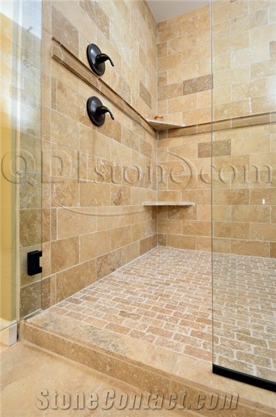 Noce Travertine Tumbled Unfilled Tile Bath Design From