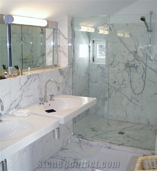 Bianco Carrara Venato C Marble Bathroom Design from ...