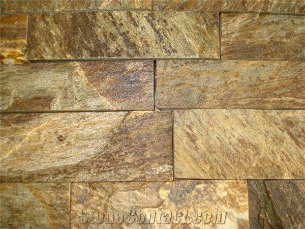 Natural Stone Ledge Stone Wall Tiles Yellow Quartzite Ledge Stone