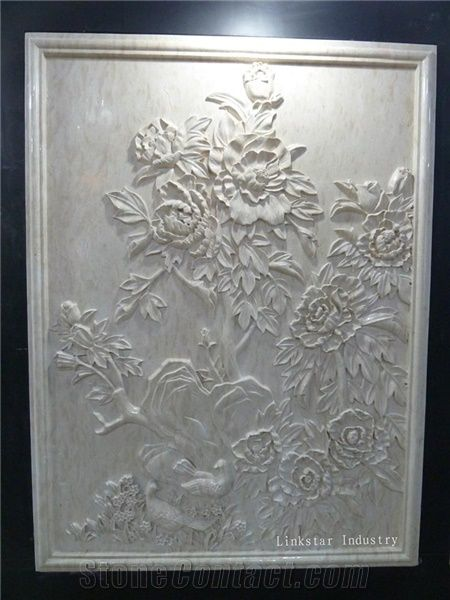 Decorative 3d Natural Stone Wall Art Panel Beige Marble