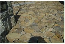 Andesite Taupe Irregular Flagstone, Beige Taupe Andesite Patio Flagstone