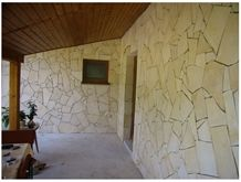 Croatian Yellow Limestone Irregular Wall Stone, Giallo Dalmatia Yellow Limestone