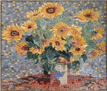 Vincent Van Gogh Sunflowers Reproduction on Marble Mosaic Tiles