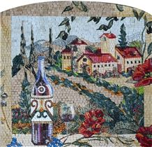 Wine Bottle Overlooking the Village Kitchen Mosaic
