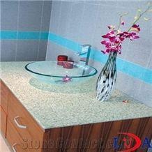 Custom Quartz Stone Bathroom Vanity Tops, Grey Quartz Stone Vanitytops