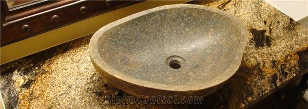 River Stone Vessel Sink Granite Bath Countertop