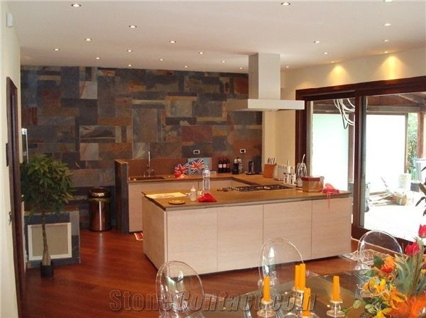 Jak Multicolor Slate Kitchen Wall Tiles From Italy Stonecontact Com